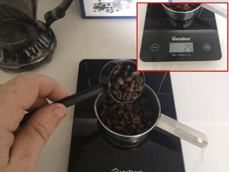 Step 4: Weigh Out 25g Of Whole Bean Coffee