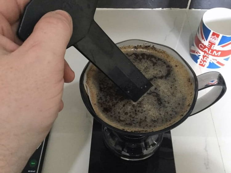 agitate your coffee grounds