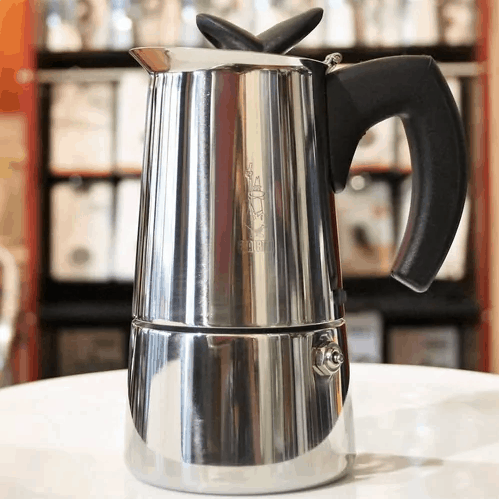 Stainless Percolator on a table