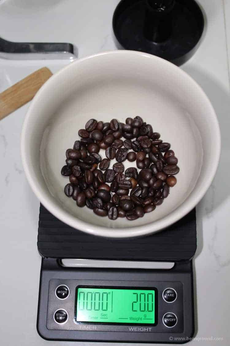 weigh out your coffee (20 grams)