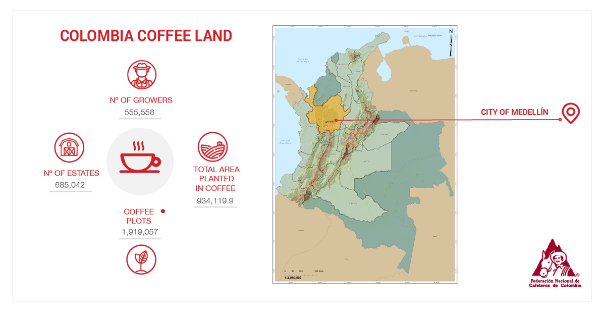 map of coffee Colombia growing regions